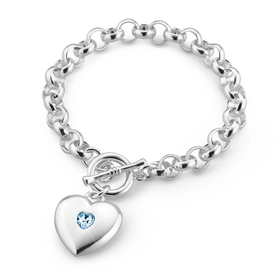 Classic Birthstone Heart Bracelet with complimentary Filigree Keepsake Box