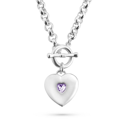 Classic Birthstone Heart Necklace with complimentary Filigree Keepsake Box - UPC 825008326996