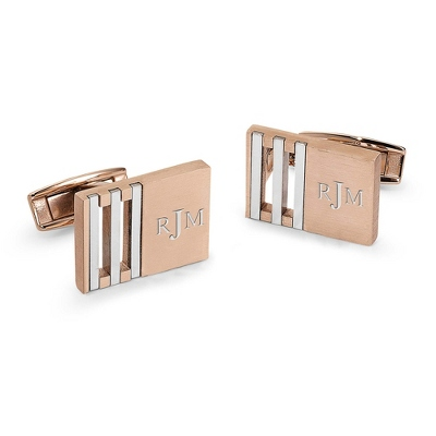 Stainless Steel Rose Gold Cuff Links with complimentary Weave Texture Valet Box