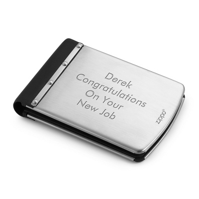 Zippo Stainless Steel Wallet with complimentary Secret Message Card - Men's Accessories