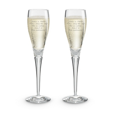 Diamond Cut Crystal Toasting Flutes - Champagne Glasses