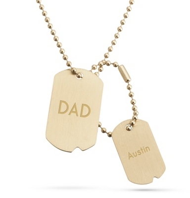 Brushed Gold Finish Double Dog Tag -Vertical with complimentary Tri Tone Valet Box
