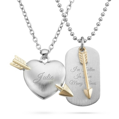 Heart and Arrow Pendant Set with complimentary Tri Tone Valet Box