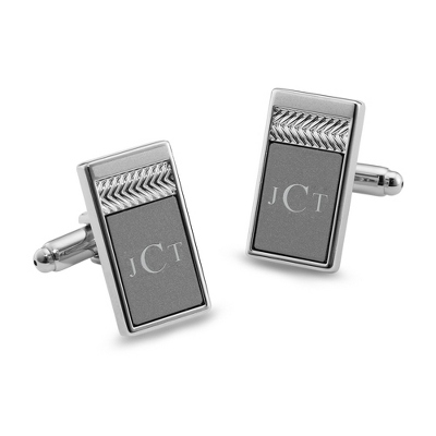 Matte Grey Tri Tone Cuff Links with complimentary Tri Tone Valet Box