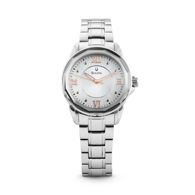 Ladies Bulova Round Dial Watch 96L172 with complimentary Filigree Keepsake Box - 1st Anniversary Gifts