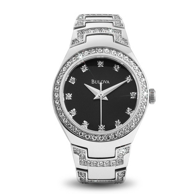 Ladies Bulova Crystal Watch 96L170 with complimentary Filigree Keepsake Box - 1st Anniversary Gifts