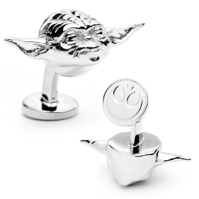 Star Wars 3D Yoda Head Cuff Links with complimentary Weave Texture Valet Box - Tie Bars & Cuff Links