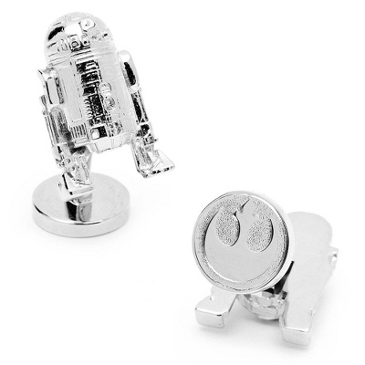 Star Wars 3D R2D2 Cuff Links with complimentary Weave Texture Valet Box - Tie Bars & Cuff Links
