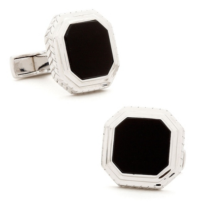 Sterling Silver Onyx Opus Cuff Links with complimentary Weave Texture Valet Box