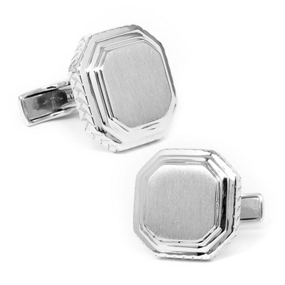 Sterling Silver Opus Cuff Links with complimentary Weave Texture Valet Box