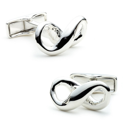 Sterling Silver Infinity Cuff Links with complimentary Weave Texture Valet Box