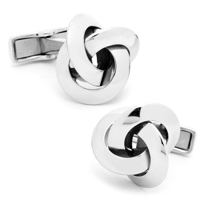 Sterling Silver Knot Cuff Links with complimentary Weave Texture Valet Box