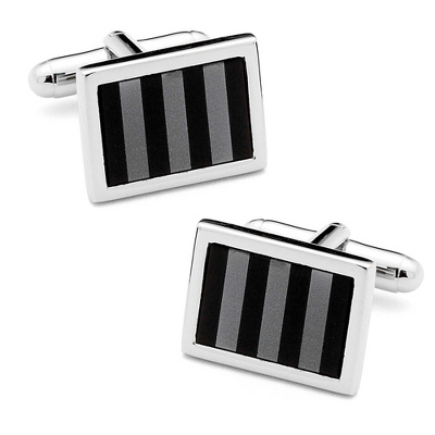 Onyx & Hematite Striped Cuff Links with complimentary Weave Texture Valet Box