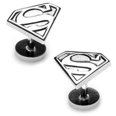 Silver Superman Shield Cuff Links with complimentary Weave Texture Valet Box - $60.00