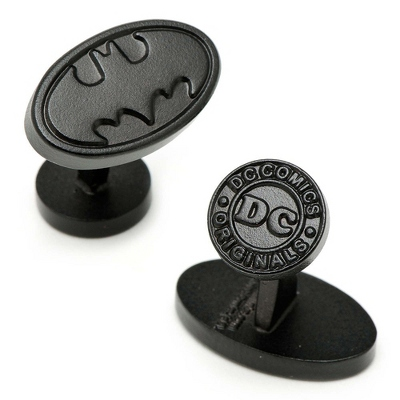 Satin Black Oval Batman Cuff Links with complimentary Weave Texture Valet Box