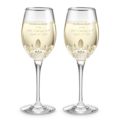 Waterford Lismore Essence Platinum White Wine Goblets