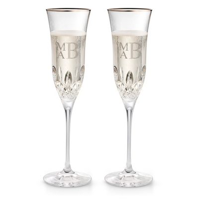 Waterford Lismore Essence Platinum Champagne Flutes - Elegant Wedding
