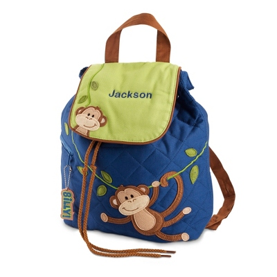 Personalized Boy Monkey Quilted Backpack