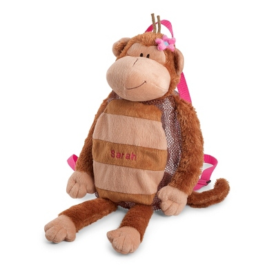 Personalized Girl Monkey Silly Sac Bag