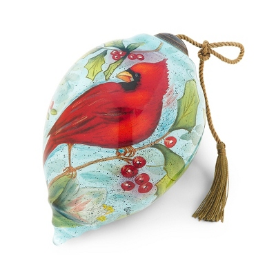 Hand Painted Cardinal Holly Ornament