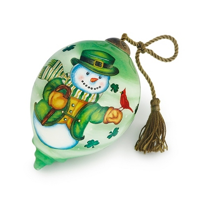 Hand Painted Irish Snowman Ornament