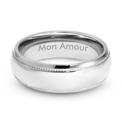 Men's Titanium 7mm Milgrain Detail Wedding Band with complimentary Weave Texture Valet Box - $80.00