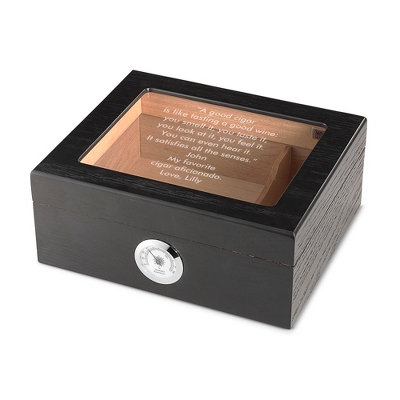 Black Oak Glasstop Desktop Cigar Humidor