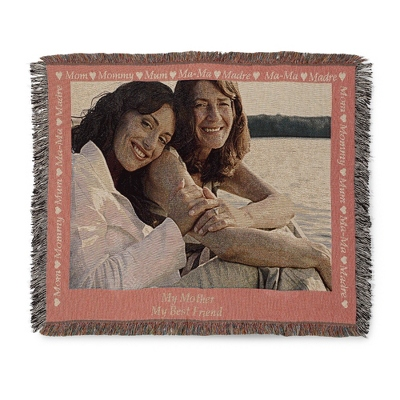 Landscape Mom Photo Throw with Pink Border