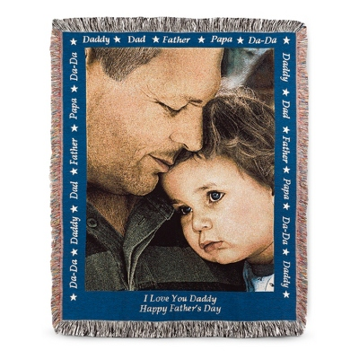 Portrait Dad Photo Throw with Blue Border - Family & Friends Throws
