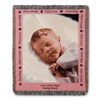 Portrait Baby Photo Throw with Pink Border