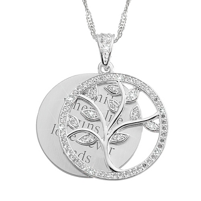 Crystal Family Tree Necklace with complimentary Filigree Heart Box - Fashion Necklaces