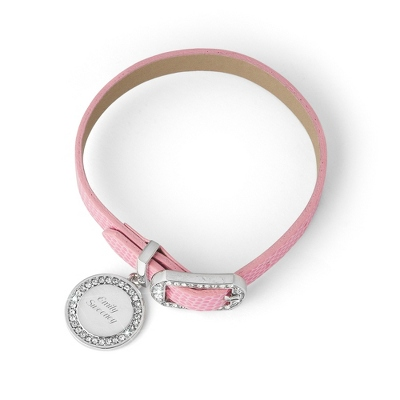 Pink Leather Buckle Bracelet