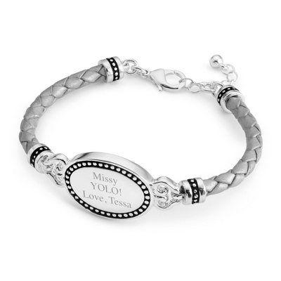 Grey Oval Leather ID Bracelet with complimentary Filigree Keepsake Box
