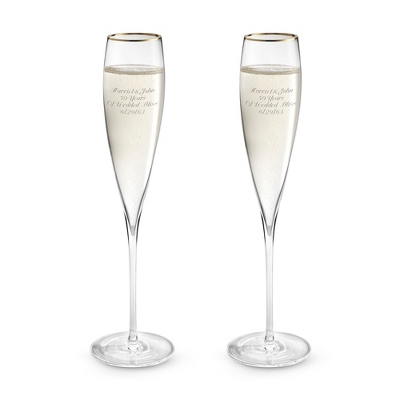 Savoy Gold Rim Toasting Flute Set - Barware & Accessories