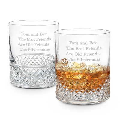 Diamond Cut Crystal Double Old Fashioned Glasses Set