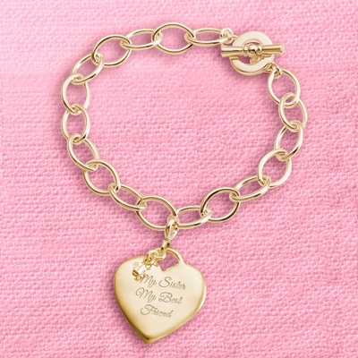 Gold Heart Charm Bracelet with complimentary Filigree Keepsake Box - New Women's Jewelry