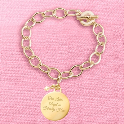 Gold Round Charm Bracelet with complimentary Filigree Keepsake Box