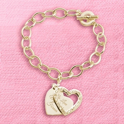 Gold Pave Swing Heart Charm Bracelet with complimentary Filigree Keepsake Box - Fashion Bracelets & Bangles