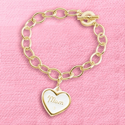 Gold Wax Seal Mom Charm Bracelet with complimentary Filigree Keepsake Box - $40.00
