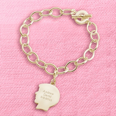 Gold Boy's Silhouette Charm Bracelet with complimentary Filigree Keepsake Box - Fashion Bracelets & Bangles