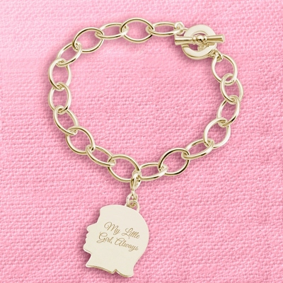 Gold Girl's Silhouette Charm Bracelet with complimentary Filigree Keepsake Box