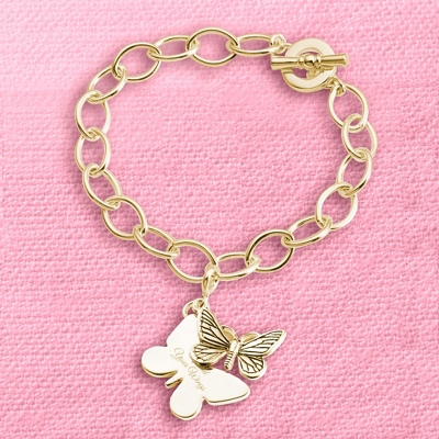 Gold Butterfly Charm Bracelet with complimentary Filigree Keepsake Box - Fashion Bracelets & Bangles