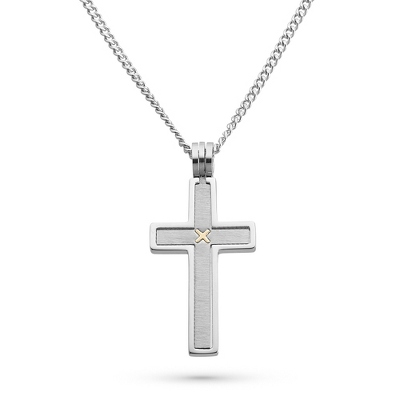 Stainless Steel Cross Pendant with 14k Accent with complimentary Tri Tone Valet Box