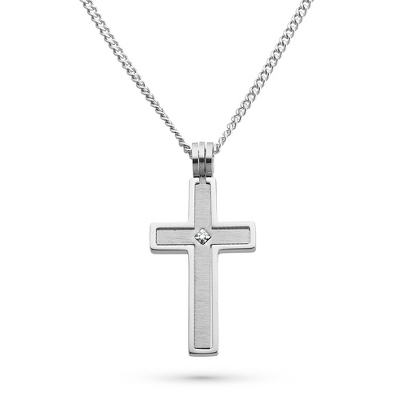 Stainless Steel Cross Pendant with Diamond Accent