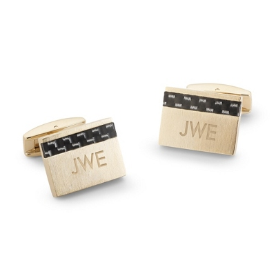 Gold Carbon Fiber Cuff Links with complimentary Weave Texture Valet Box