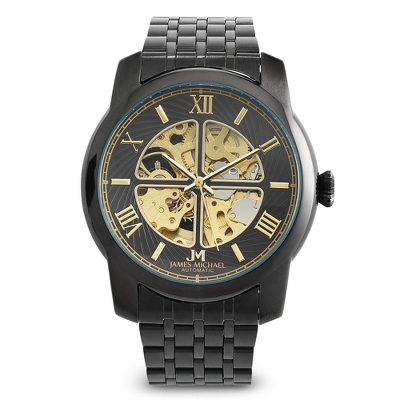 Men's Black IP Skeleton Watch
