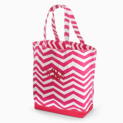Pink Chevron Tote - Embroidered Bridesmaids Gifts
