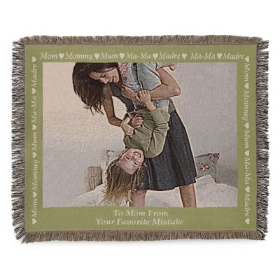 Landscape Mom Photo Throw with Green Border