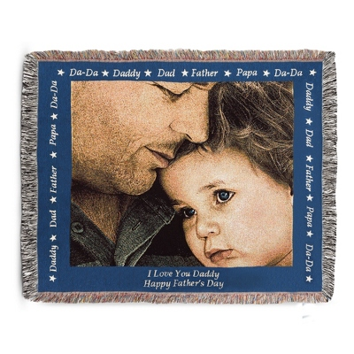 Landscape Dad Photo Throw with Blue Border - Woven Photo Throws