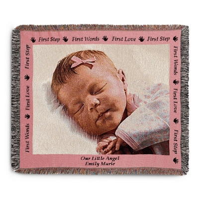 Landscape Baby Photo Throw with Pink Border - Woven Photo Throws